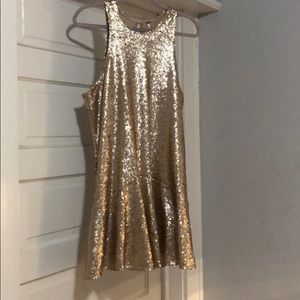 Free People Gold Sequin Dress Medium
